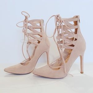 LULUS KYLIE NUDE POINTED SUEDE LACE UP HEELS